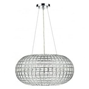 PLA0350 Plaza 3 Light Crystal Ceiling Pendant Polished Chrome