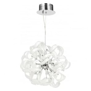 FONDA-9WH Fonda 9 Light Ceiling Pendant White Glass