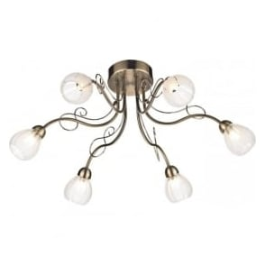 FUS6475 Fusion 6 Light Ceiling Light Antique Brass