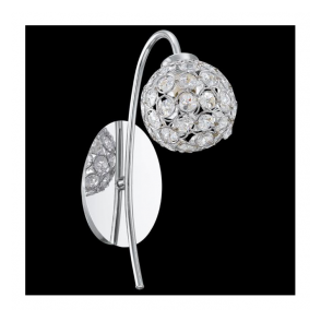 92568 Beramo1 1 Light Wall Light Chrome Clear Crystal
