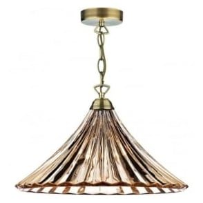 ARD866 Ardeche 1 Light Ceiling Pendant Amber Glass