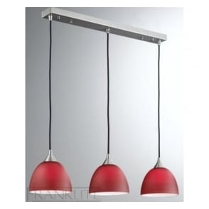 FL2290/3/933 Vetross 3 Light Ceiling Pendant Red/White