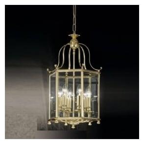 LA7006/6 Montpelier 6 Light Ceiling Lantern Polished Brass