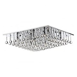 ABA4750 Abacus 8 Light Crystal Flush Ceiling Light Polished Chrome