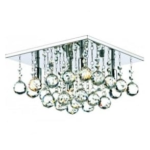 ABA5250 Abacus 4 Light Crystal Flush Ceiling Light Polished Chrome