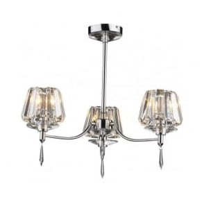 SEL0350 Selina 3 light modern ceiling light semi flush polished chrome finish