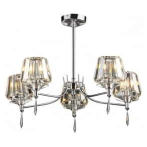 SEL0550 Selina 5 light modern ceiling light semi flush polished chrome finish