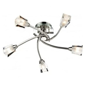 AUS0546 Austin 5 Light Semi-Flush Ceiling Light Satin Chrome