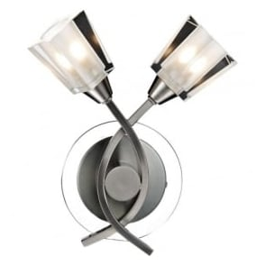 AUS0946 Austin 2 Light Switched Wall Light Satin Chrome