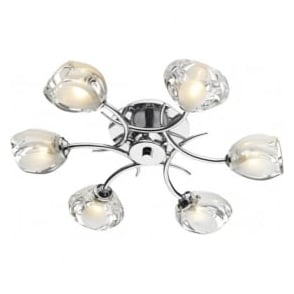 ZAG0650 Zagreb 6 Light Semi-Flush Ceiling Light Polished Chrome
