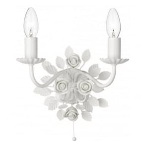 SAS092 Saskia 2 Light Switched Wall Light White