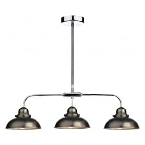DYN0361 Dynamo 3 Light Ceiling Light Antique Chrome