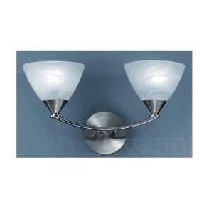 PE9672/786 Meridian 2 Light Wall Light Brushed Nickel
