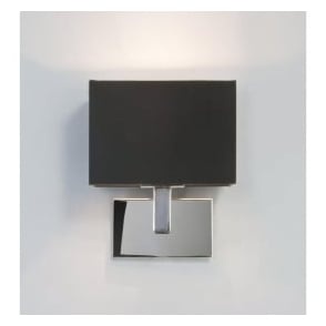 0567 Connaught Wall Light Polished Chrome With Black Shade