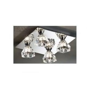 FL2245/4 Twista 4 Light Crystal Ceiling Light Polished Chrome