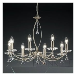 FL2225/8 Monaco 8 Light Crystal Ceiling Light Satin Nickel