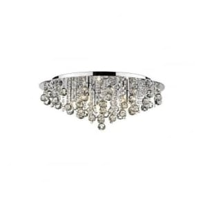 PLU0850 Pluto 5 Light Crystal Flush Ceiling Light Polished Chrome