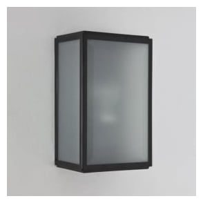 7081 Homefield Frosted 1 Light Outdoor Wall Light Black IP44