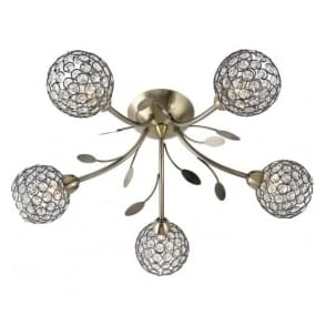 6575-5AB Bellis II 5 Light Semi-flush Ceiling Light Antique Brass