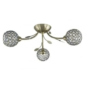 6573-3AB Bellis II 3 Light Semi-flush Ceiling Light Antique Brass