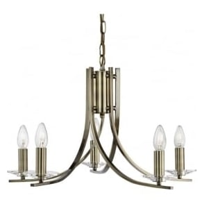 4165-5AB Ascona 5 Light Ceiling Light Antique Brass
