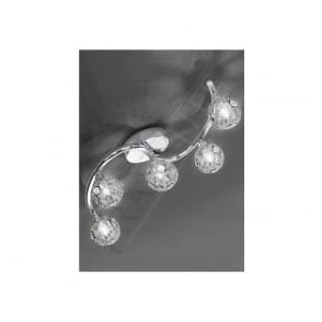 FL2305/5 Horologica 5 Light Crystal Ceiling Light Polished Chrome
