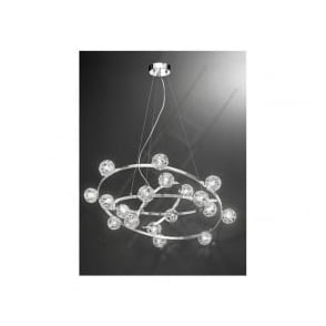 FL2305/18 Horologica 18 Light Crystal Ceiling Pendant Polished Chrome