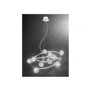 FL2305/10 Horologica 10 Light Crystal Ceiling Pendant Polished Chrome