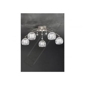 FL2295/5 Jura 5 Light Ceiling Light Satin Nickel