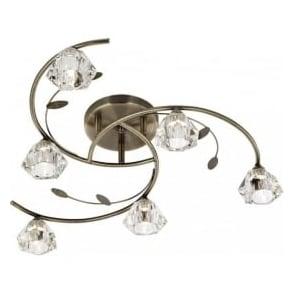 2636-6AB Sierra 6 Light Ceiling Light Antique Brass