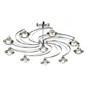 LUT2350 Luther 10 Light Crystal Ceiling Light Polished Chrome