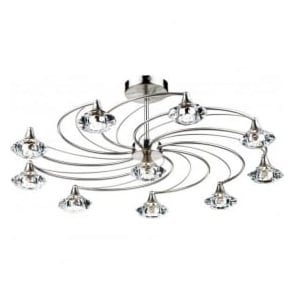LUT2346 Luther 10 Light Crystal Ceiling Light Satin Chrome
