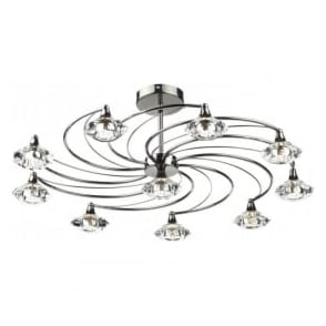 LUT2367 Luther 10 Light Crystal Ceiling Light Black Chrome