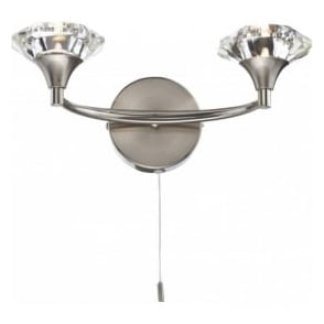LUT0946 Luther 2 Light Crystal Wall Light Satin Chrome Switched