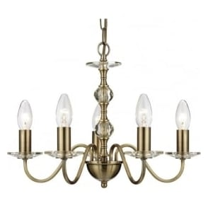 3455-5AB Monarch 5 Light Ceiling Light Antique Brass