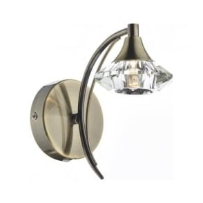 LUT0775 Luther 1 Light Crystal Wall Light Antique Brass Switched