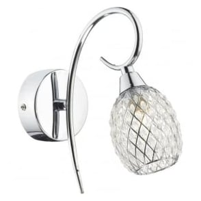 ARI0750 Aria 1 Light Wall Light Polished Chrome Switched