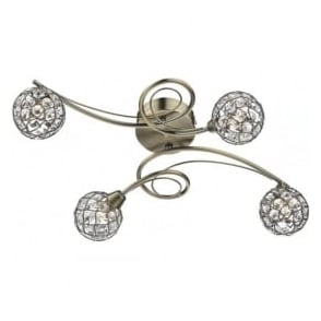 CIR0475 Circa 4 Light Semi-Flush Ceiling Light Antique Brass