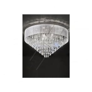 FL2281/10 Royale 10 Light Crystal Ceiling Light Translucent Silver