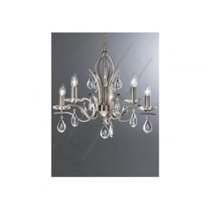 FL2298/5 Willow 5 Light Crystal Ceiling Light Satin Nickel