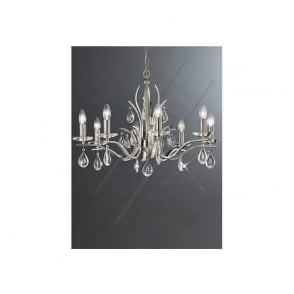 FL2298/8 Willow 8 Light Crystal Ceiling Light Satin Nickel