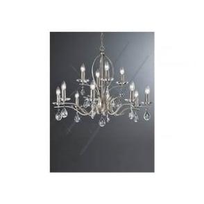 FL2298/12 Willow 12 Light Crystal Ceiling Light Satin Nickel