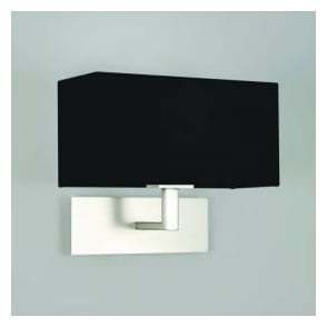 7098 Park Lane Wall Light Matt Nickel with Black Shade