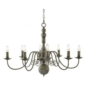 2268-8GY Greythorne 8 Light Ceiling Light Textured Grey Steel