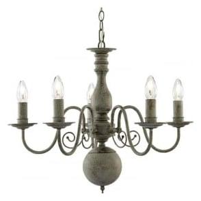 2265-5GY Greythorne 5 Light Ceiling Light Textured Grey Steel