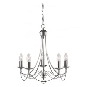 6345-5SS Maypole 5 Light Ceiling Light Satin Silver