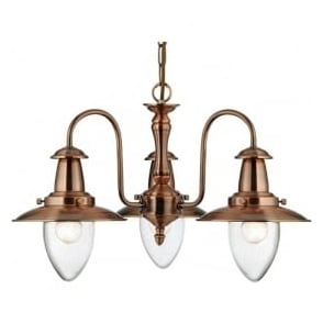 5333-3CU Fisherman 3 Light Ceiling Light Copper