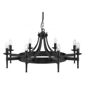 2428-8BK Cartwheel 8 Light Ceiling Light Black