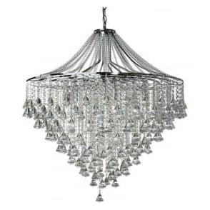 3497-7CC Dorchester 7 Light Crystal Ceiling Light Polished Chrome