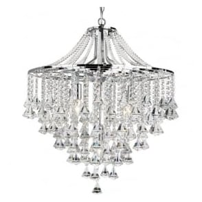 3495-5CC Dorchester 5 Light Crystal Ceiling Light Polished Chrome